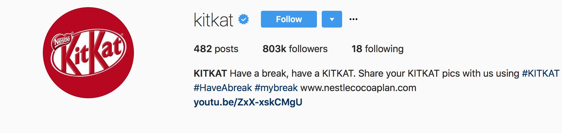 Kitkat Branded hashtags