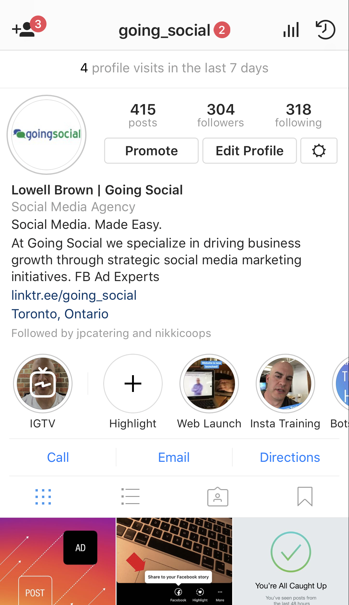 IGTV videos are featured on your profile.
