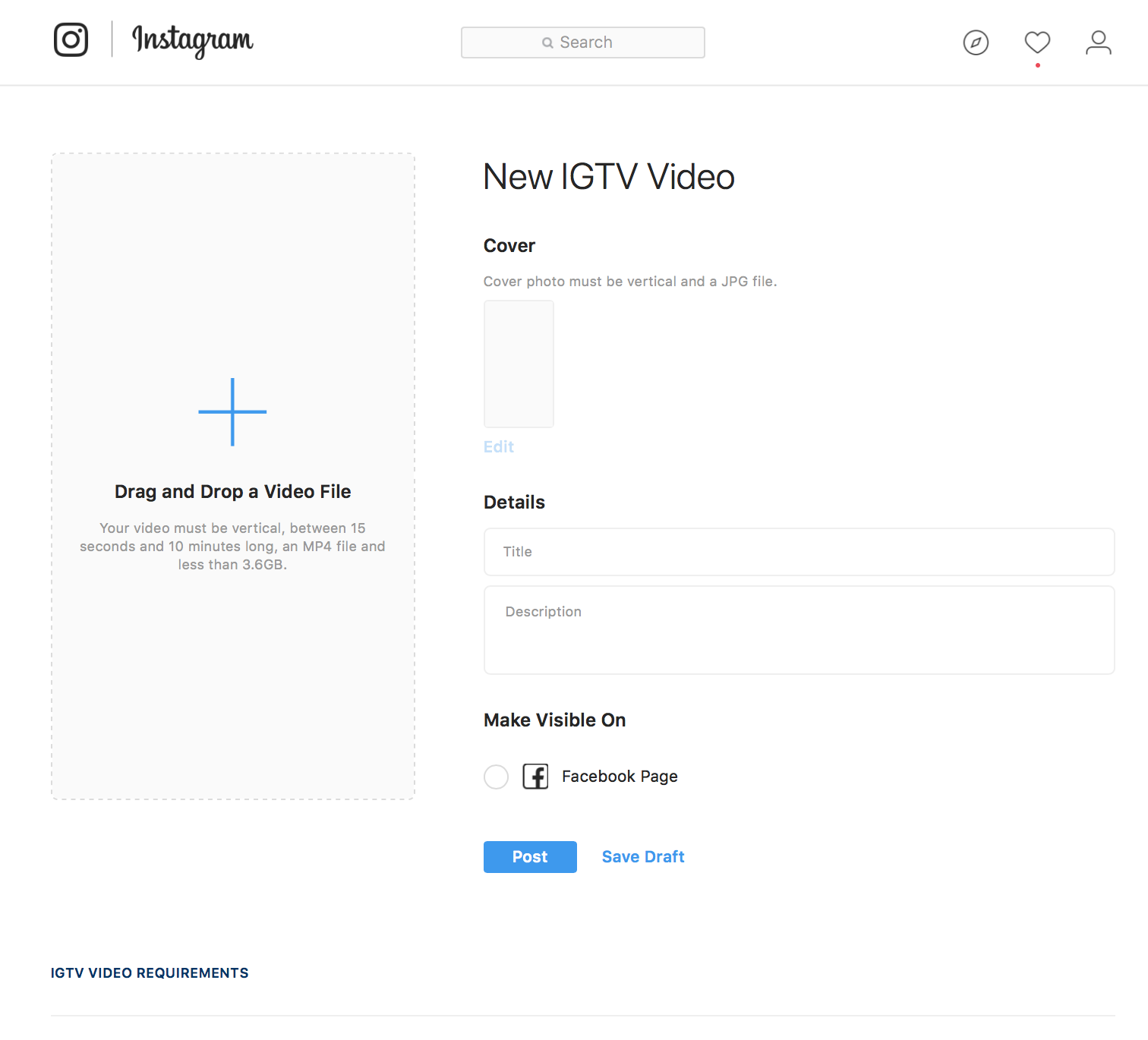 You can upload video via desktop